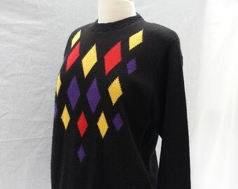 Argyle 80s Sweater  Womans Sweater  Knit Sweater