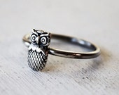 Size 6.5 - Sterling Silver Owl Ring - Stacking Ring - Bird Ring - Woodland - Valentines Day - Gift For Her - Gift For Teen - Ready to Ship