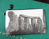 Cosmetic Bag with Vintage Photograph of Tourists at Stonehenge, c. 1930