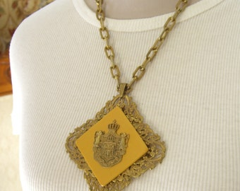Vintage Miriam Haskell Rare Pendant Necklace, Latin Coat of Arms Inscription, Haskell Jewelry