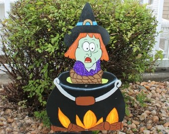 Witch in Kettle Yard Sign / Decor / Art