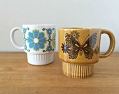 Vintage Stacking Mugs Flowers & Butterflies Japan Coffee Cups Mismatched Mugs