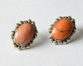 SALE Vintage Sterling Silver Red Pink Jasper Mexico Signed Pierced Large Earrings