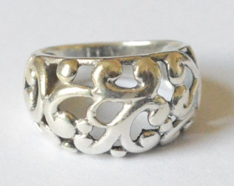 SALE Vintage Sterling Silver Filigree Chunky Dome Band Size 7.75
