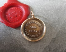 Forgive Others Wax Seal Charm - antique wax seal pendant jewelry - bible quote Forgive So That You May Be Forgiven