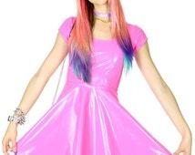 DEVOWEVO Bubblicious Vinyl Skater Dress