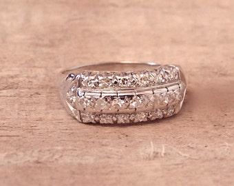Vintage Diamond 14K .65 Carat Band Ring, White Gold,Wedding,Anniversary