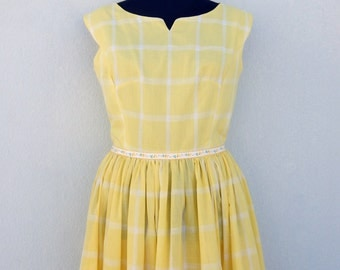 Vintage 50s / 60s yellow plaid dress with full skirt