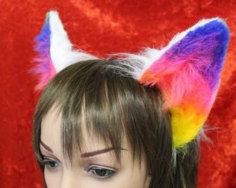 Flexi Rainbow Party Cat Ear Headband - Neko Kitty Ears Poseable - great for furries fursuits gijinka festival - rainbow black white grey & c