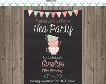 Tea Party Invitation - Tea Party Birthday Party - Tea Party Invitation - Tea Party Birthday Party