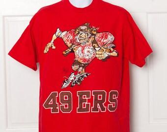 Vintage 1980s 49ERS Tshirt Dan Fransisco Football - XL