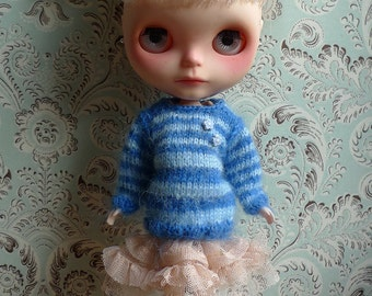 Blue Striped Mohair Blythe Jumper | Pullip Jumper