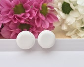 Snow White Polymer Clay Stud Earrings - 15mm - Surgical Steel Studs