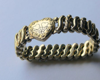 Beautiful WW2 Sterling Silver Gold Wash Sweet Heart Vintage Bracelet