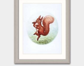 "Baby Nursery Art w/Mat (Beatrix Potter Nursery, Squirrel Art) Vintage Matted Print --- ""Sunbeam Dance"""