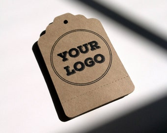 Perforated Tags Personalized with Your Logo or Custom Design -  50 Kraft Paper Brown Bag - Includes Printing - Wholesale Welcome