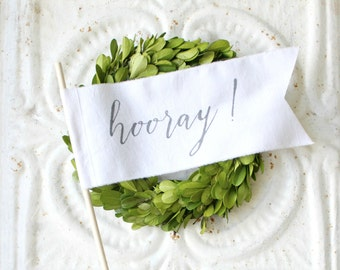 HOORAY wedding flags . banners, pennants, wands, streamers . wedding exit . alternative instead of rice . send off . free US shipping