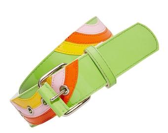 Deelite Green Patent Swirl Belt X American Deadstock