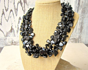 Four Strand Black Onyx Necklace.Chunky Black Onyx Statement Necklace.Black Necklace.Black Onyx Jewelry.Black Jewelry.Black Bridesmaid Jewelr