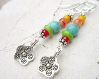 Multi Semi Precious Stone Earrings. Multi Color Earrings.Colorful Earrings.Flower Dangle Earrings.Multi Color Drop Earrings.Colorful Jewelry