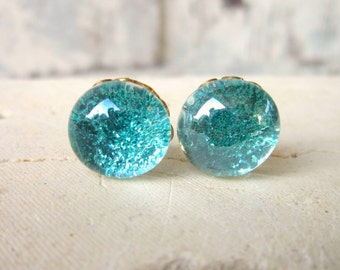 Turquoise Glitter Stud Earrings. Post Earrings.Sparkle Turquoise Earrings. Glitter Earrings. Glitter Jewelry. Silver Stud Earrings