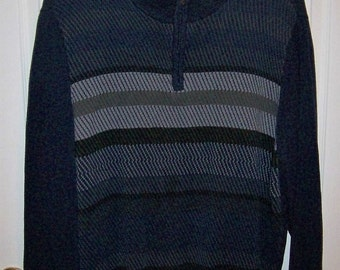 SAlE 20% Off Vintage Men's Navy Blue Striped Sweater by Izod Extra Large Now 4 USD