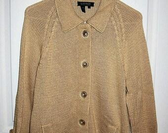 Vintage Ladies Tan Cardigan Sweater Lauren by Ralph Lauren Large Only 10 USD