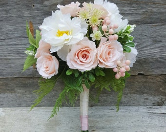 blush garden rose bridal bouquet pink and white wedding bridal bouquet