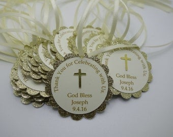 Gold and Ivory Sparkle Christening, Baptism, First Communion, Dedication, Confirmation Thank You Favor Tags, Bautizo, Gracias Tag