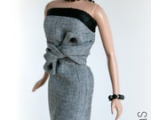 Gray and Black Dress for Barbie Silktone Fashion Royalty Dolls