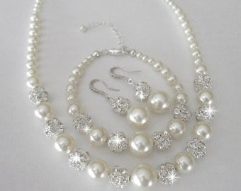 Pearl jewelry set - 3 pieces ~ Sterling Silver - Swarovski pearls and crystals - Pearl Bracelet,Earrings,Necklace - Brides pearl jewelry set