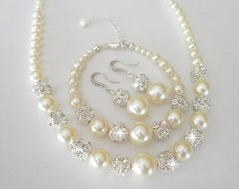 Chunky pearl jewelry set ~ 3 piece set ~ Brides jewelry set ~ Swarovski pearls and crystals ~ Pearl Bracelet, Earrings, Necklace ~ LOLITA
