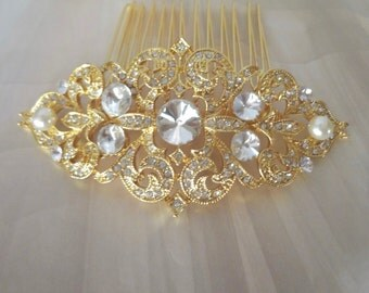 Brides hair comb ~ Crystal hair accessories ~ Gold crystal hair comb ~ Swarovski pearls ~ Hair Jewelry ~ Wedding accessories