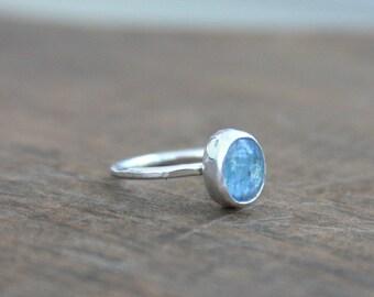 Kyanite Ring, Ring, Sterling Silver Ring, Hammered Ring, Gemstone Ring, Stackable Ring