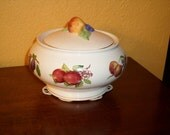 Covered Bowl/Casserole/Fruit/Vintage/Teleflora/Gold Trim/Fruit Decals/Hand Painted