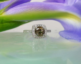 Halo Sterling Ring, Smoky Herkimer Diamond Ring, Natural Herkimer Diamond, Halo Ring