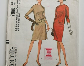 7956, McCall's Pattern Womens Two-Piece Dress Slim or Full Skirt, Size 14 Bust 35