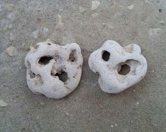 2 pcs. Large Holy Stone with Natural Two Holes. Wiccan Stone. Beach Face Rock. Holey Hag Stone Supply. Metaphysical Israel Rock Supply
