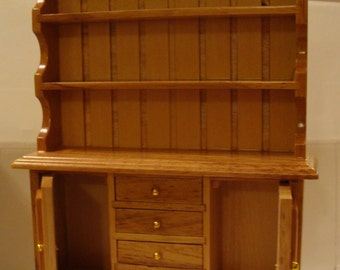Hutch, Beautiful Wood Dollhouse Piece, 4 Drawers, 2 Shelves, 2 Cabinet Doors to Storage