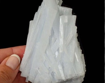 "Rare Huge 4.5"" ANHYDRITE Specimen + Stand aka Angel Wing, Angelite Healing Crystal and Stone for Meditation #XQ04"