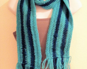Turquoise and Teal Striped Scarf with Fringe