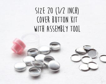 Size 20 - 1/2 inch - Fabric Cover Button Starter Kit with FLAT BACKS