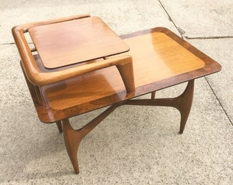 SALE Mid Century Modern Two-Tier End Table Modern by Fox Chicago, Illinois