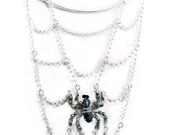 Spider's Lair Necklace - Crystal and Chain Spiderweb Necklace - Weirdly Cute Halloween Jewelry