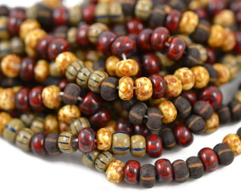 6mm Czech Red Picasso Striped Glossy and Matte Mix - 1/0 Czech Aged Beads - 20 Inch Strand