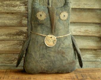 Primitive  Owl ~~~ rag stuffed