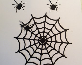Handmade, Halloween Spider Web and 3 Spiders, Die Cuts, Paper Cuts, Scary, Black, Embellishments, Cricut, Scrapbook, Cardstock