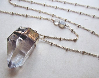 raw crystal necklace - quartz point necklace - crystal quartz jewelry - long crystal necklace