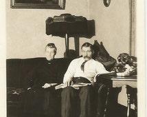 Victorian Parlor - Ghostly Figure - Vintage Photo - Odd Shadows - Interior Design - Antique Furniture - Ephemera