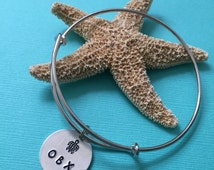 OBX Love Bangle - Bangle with Sea Turtle and OBX Charm - Outer Banks North Carolina Bangle - OBX Turtle Bracelet - Beach Life Bracelet